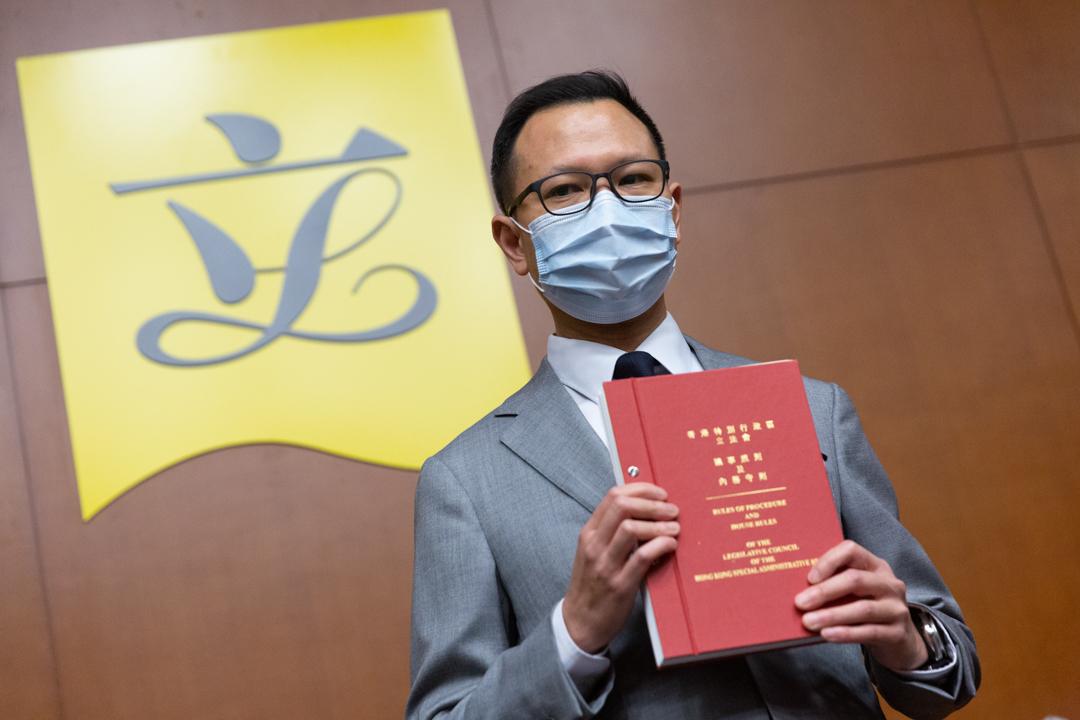 2020年4月14日,香港立法會議員郭榮鏗會見傳媒。 圖:端傳媒