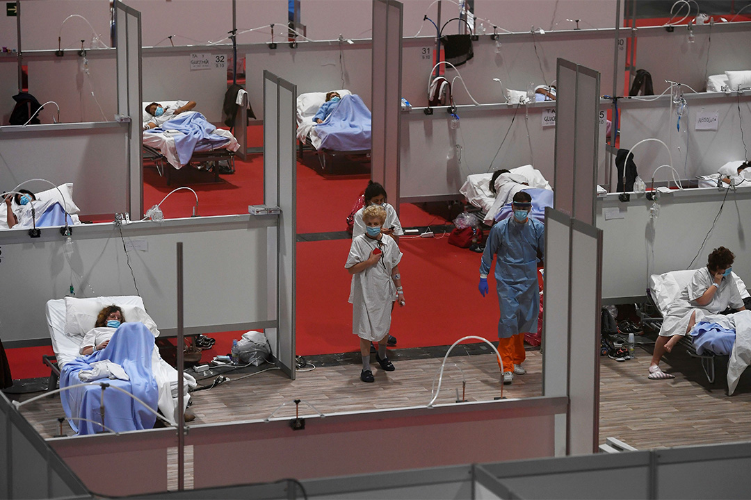 2020年4月3日,馬德里會議展覽中心的2019冠狀病毒患者的臨時醫院。