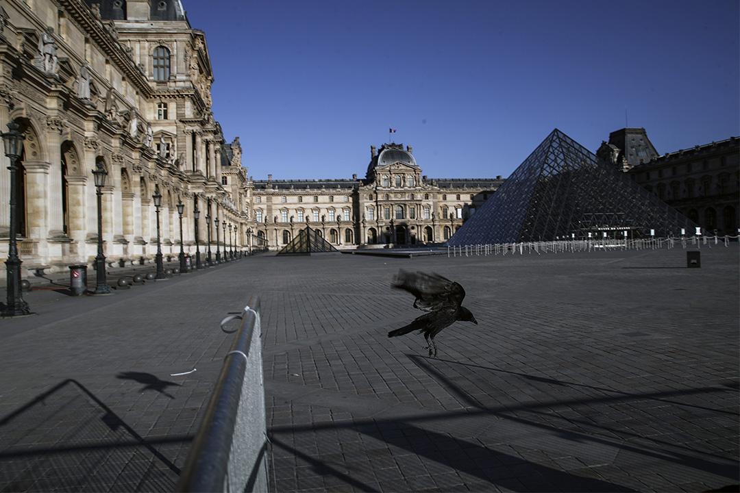 2020年3月30日巴黎,一隻烏鴉飛過巴黎空蕩的羅浮宮博物館,法國政府宣布延長3月17日生效為期15天的防疫禁閉期。