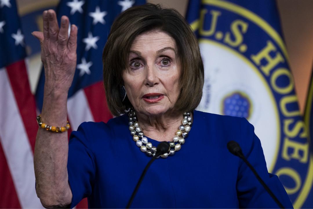 2020年2月6日,美國國會眾議長佩洛西(Nancy Pelosi)出席記者會。 攝:Tom Williams/Getty Images