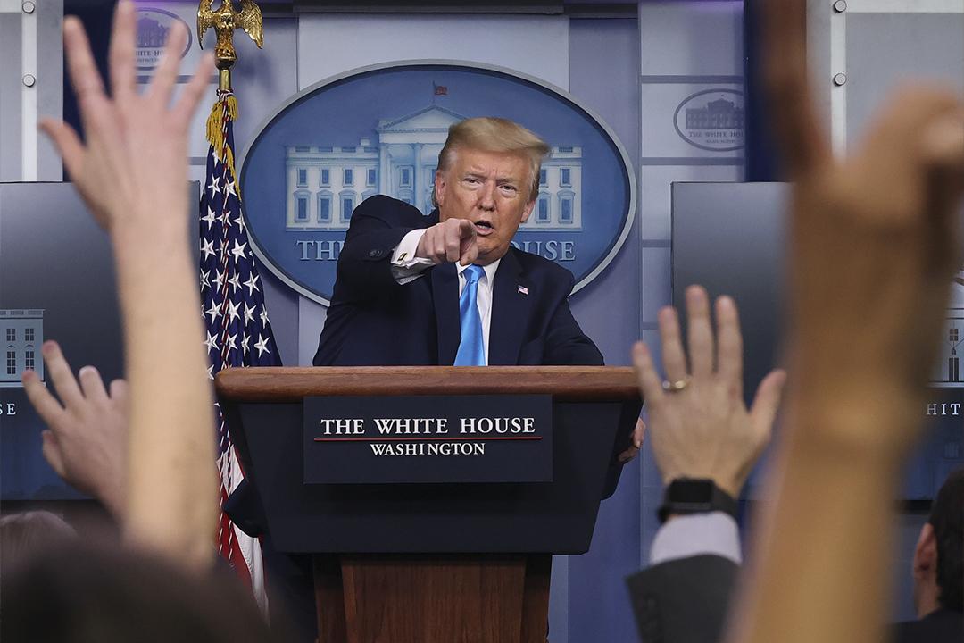 2020年4月7日,美國總統特朗普出席白宮疫情記者會。 攝:Chip Somodevilla / Getty Images