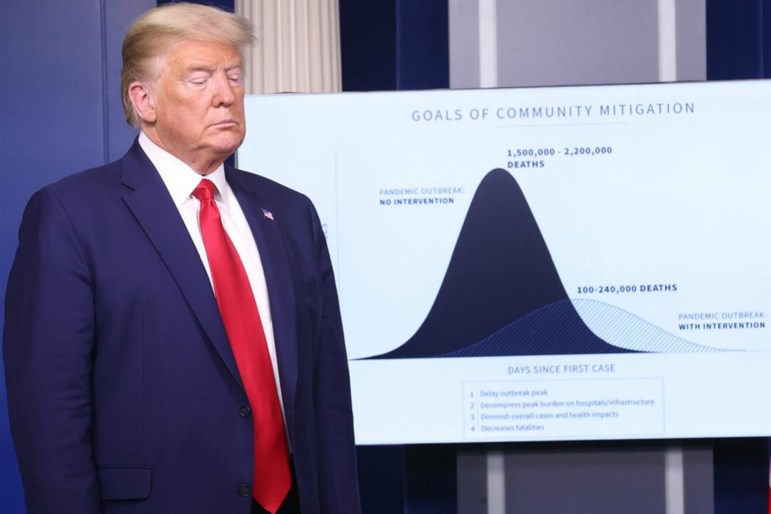 2020年3月31日,美國總統特朗普在2019冠狀病毒疫情白宮簡報會上。 攝:Win McNamee/Getty Images