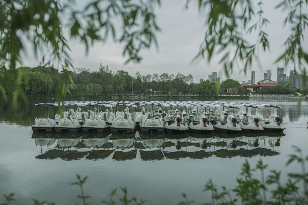 武漢動物園,疫情期間暫停開放,遊船停在湖心。