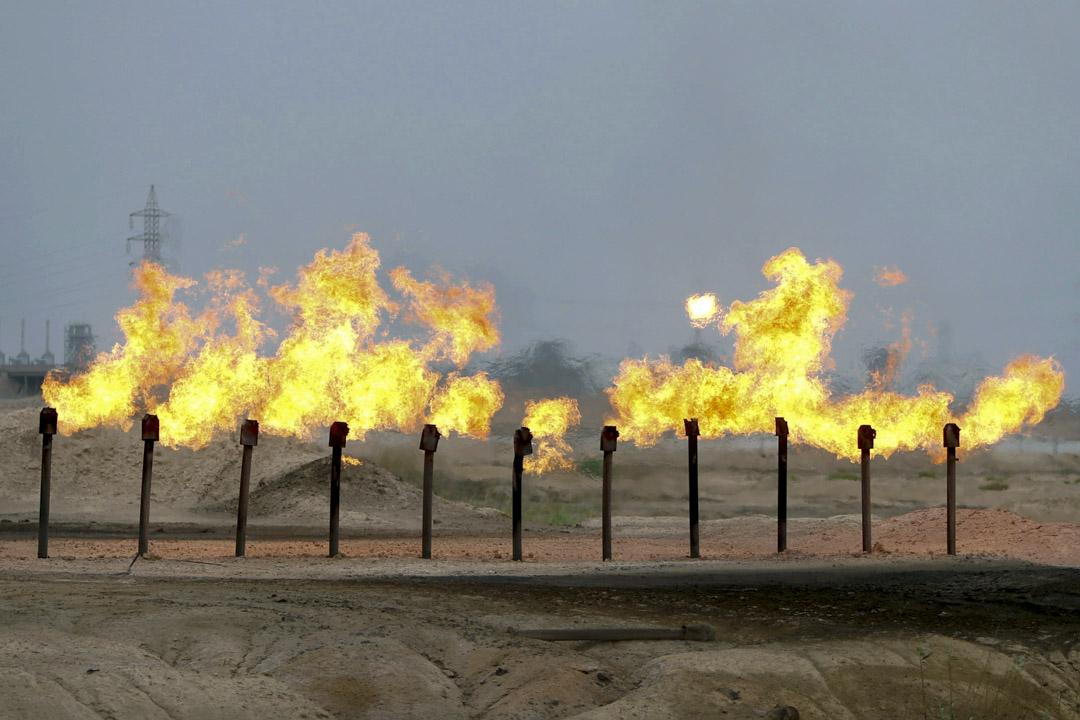 2020年4月21日,伊拉克巴士拉附近的一個油田。 攝:Essam Al-Sudani /Reuters/達志影像