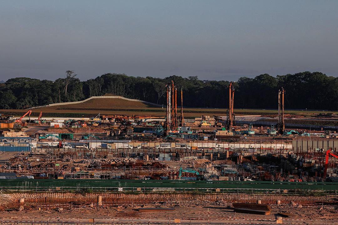2020年4月20日,新加坡遏制2019冠狀病毒爆發以來,一個停止施工的地盤。