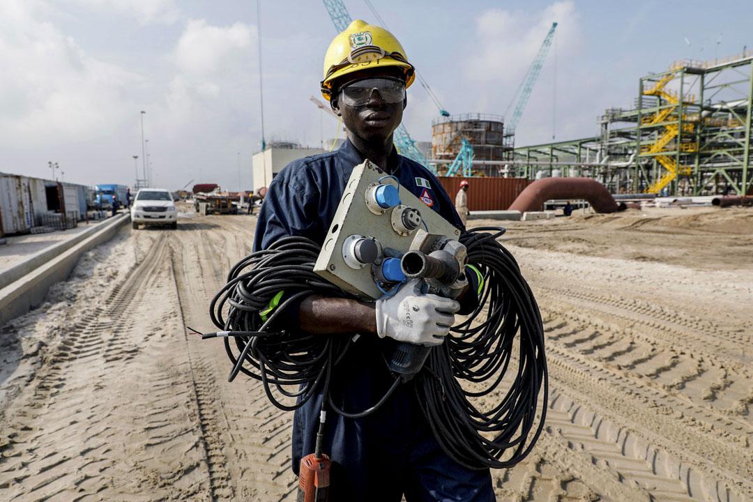 2018年7月5日,尼日利亞萊基的一名建築工人。