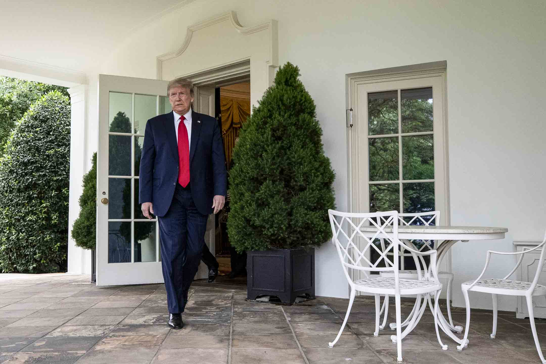 2020年5月29日,美國總統特朗普在白宮玫瑰園召開記者會,批評中國推出港區國安法。 攝:Alex Brandon/AP/達志影像