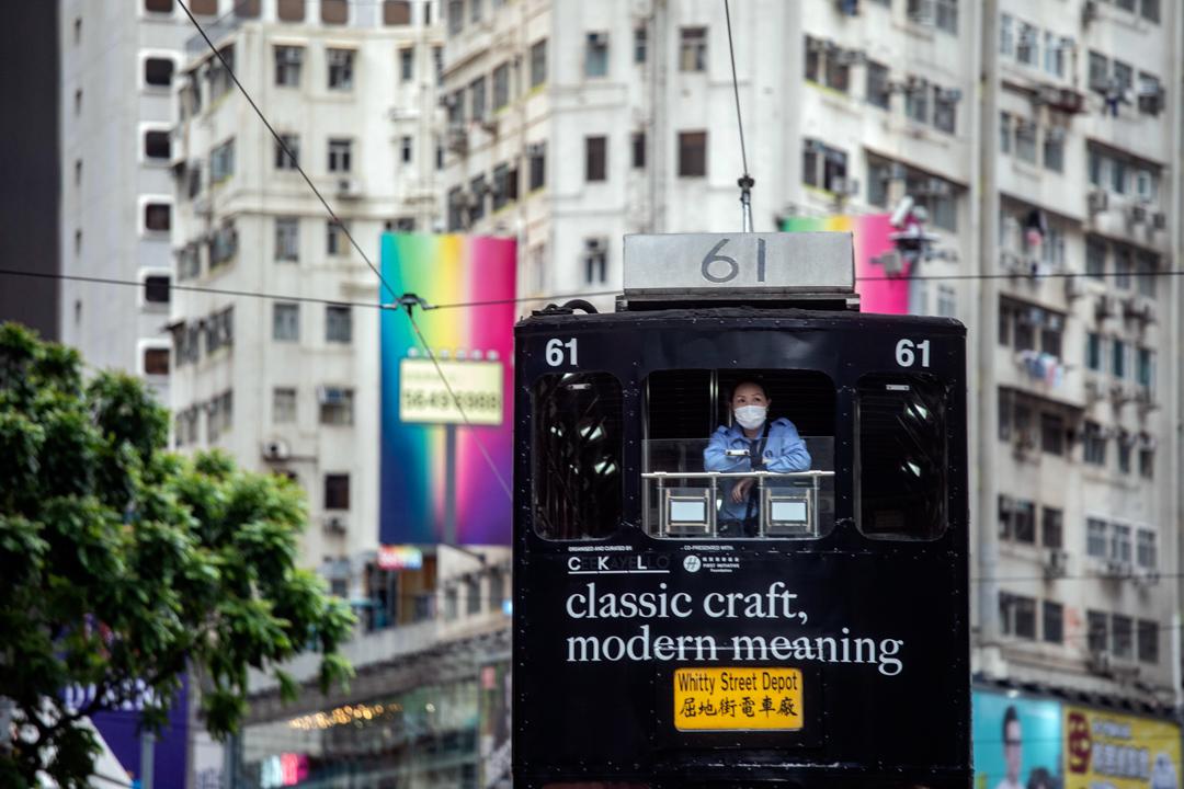 2020年5月24日,市民在香港島一帶發起反對國安法及國歌法遊行,一輛電車因而停駛。