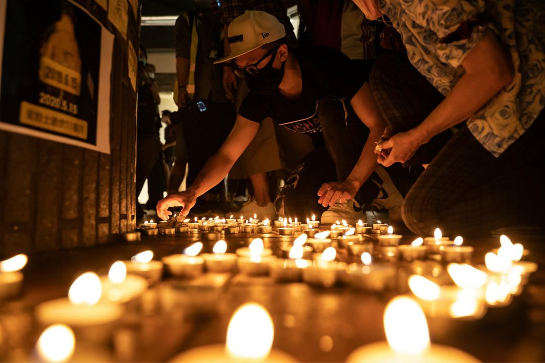 2020年5月15日,香港市民悼念過去一年反修例運動中的去世者。 攝:Anthony Kwan/Getty Images