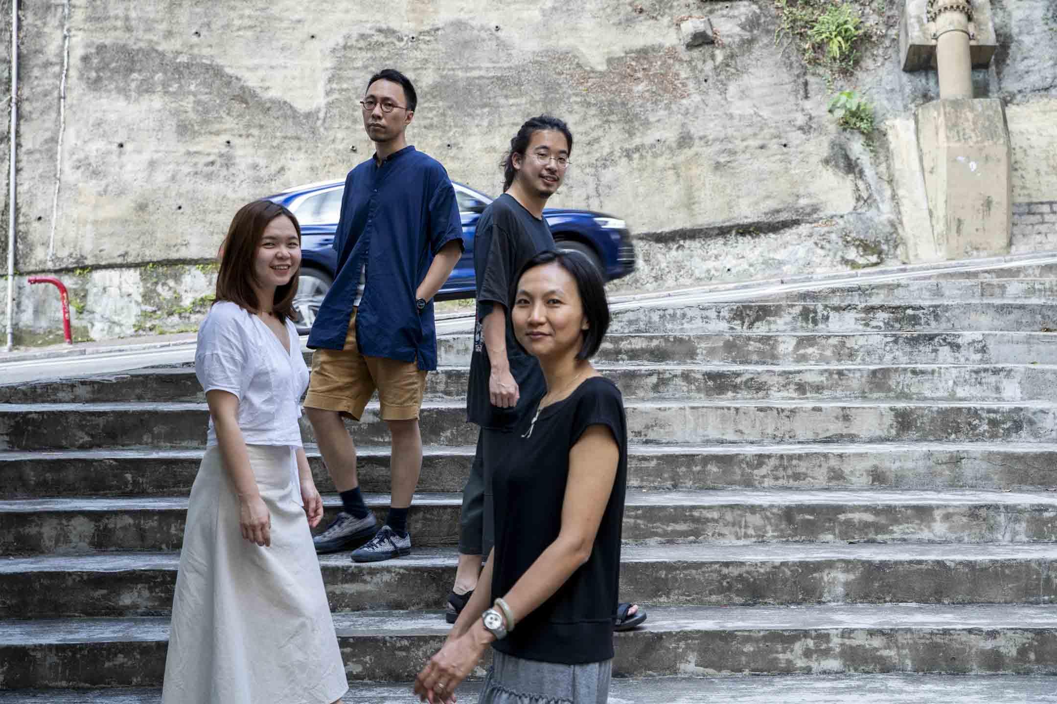 王天仁、羅偉珊、張嘉莉與連桷璋都是去年當選的新手「素人」區議員。 攝:林振東/端傳媒