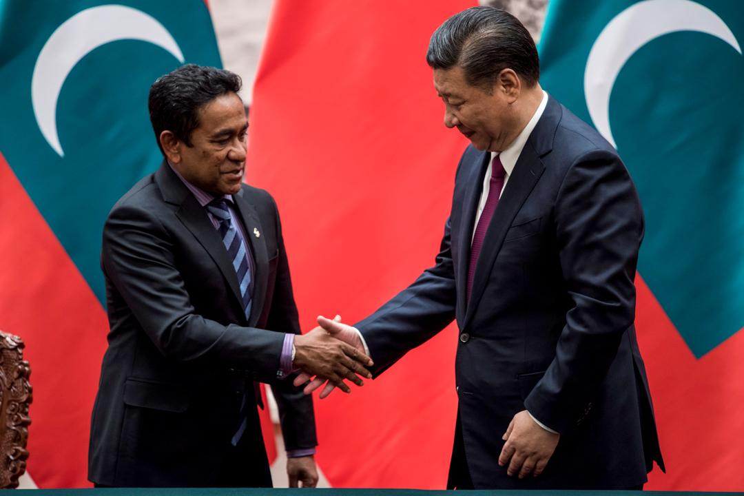 2017年12月7日,時任馬爾代夫總統亞明與中國國家主席習近平於北京會面。