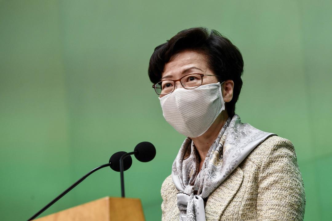 2020年5月19日香港,戴著口罩的香港行政長官林鄭月娥在新聞記者會上講話。