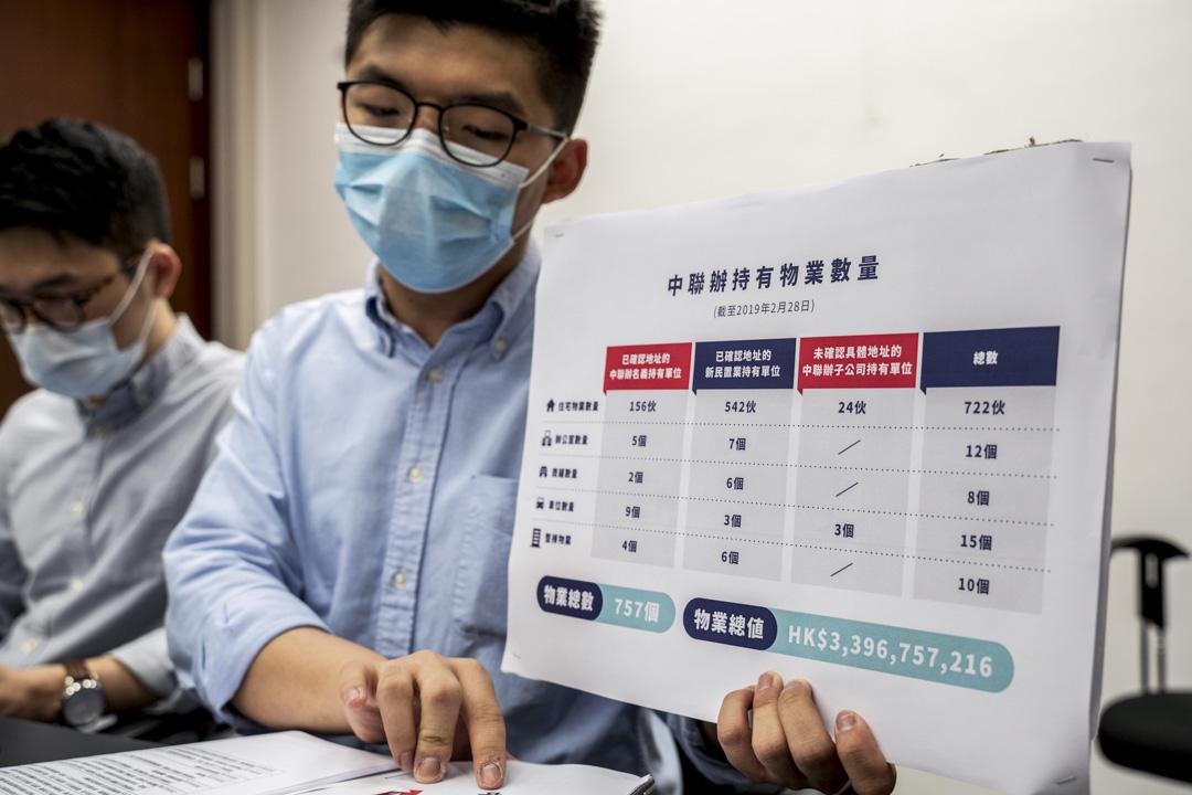 2020年4月20日,香港眾志發表調查報告,指出以中聯辦名義持有、或由中聯辦幹部任董事的新民置業有限公司持有的物業合共達757個,總購入價格約為34億港元。