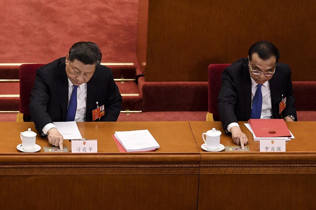 2020年5月28日,國家主席習近平和總理李克強在全國人大閉幕會議上對起草香港國家安全法的提案進行表決。
