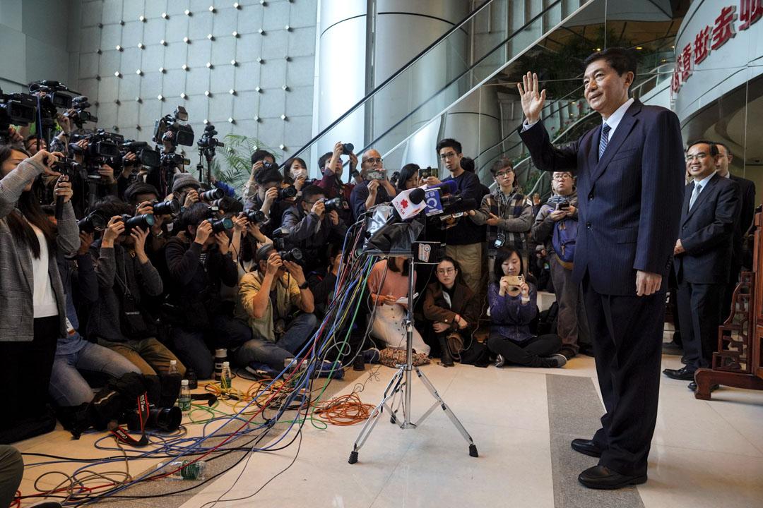 2020年1月6日,中聯辦主任駱惠寧履新,於早上現身會見傳媒。 攝:Vincent Yu/AP/達志影像