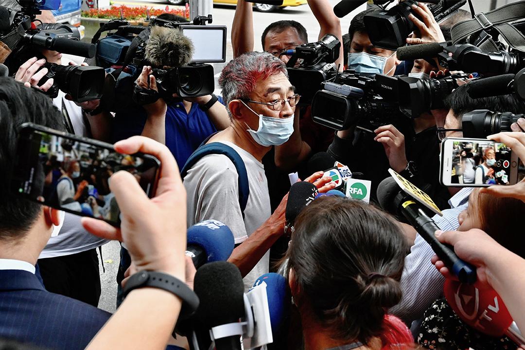 2020年4月21日,林榮基在台北中山派出所外,他遭人以油漆襲擊後接受媒體訪問。