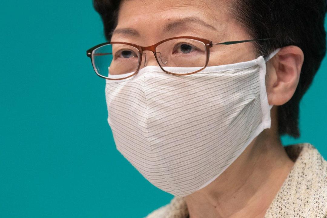 2020年5月5日,香港特首林鄭月娥出席記者會。 圖:端傳媒
