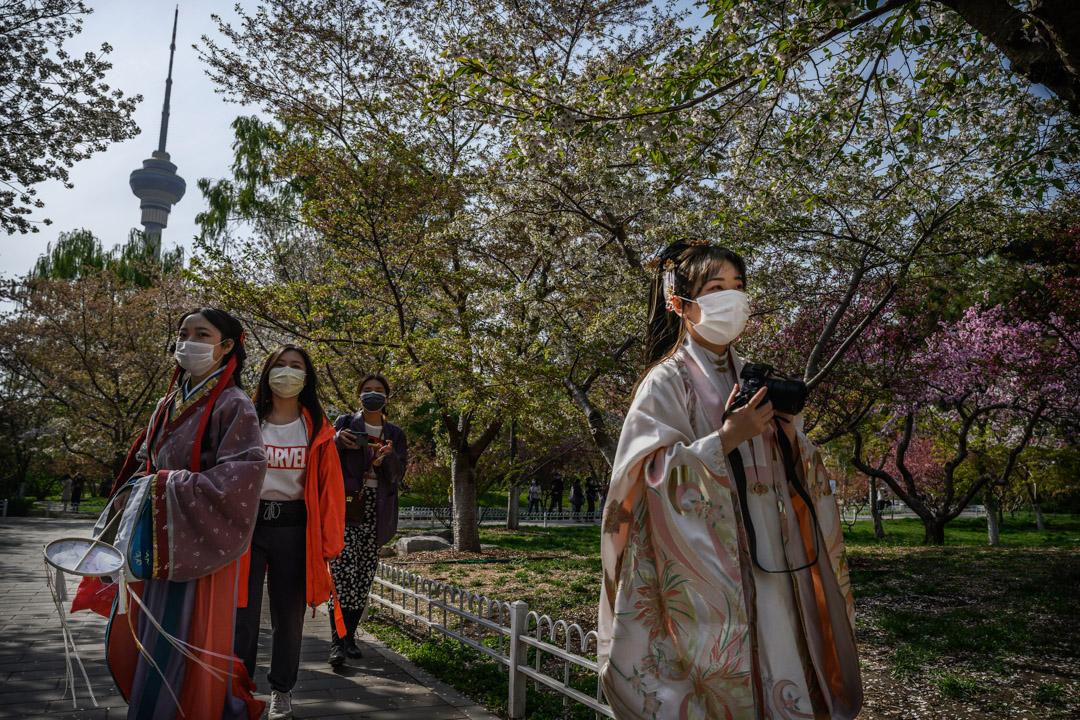 2020年4月5日,北京一個公園裡,穿著古裝的女子正在拍照。