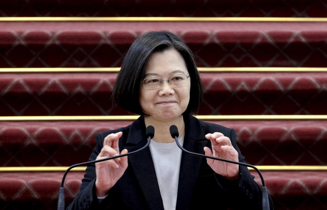 2020年1月22日,台灣總統蔡英文在總統府舉行的新聞發布會上發表講話。 攝:Sam Yeh / AFP via Getty Images