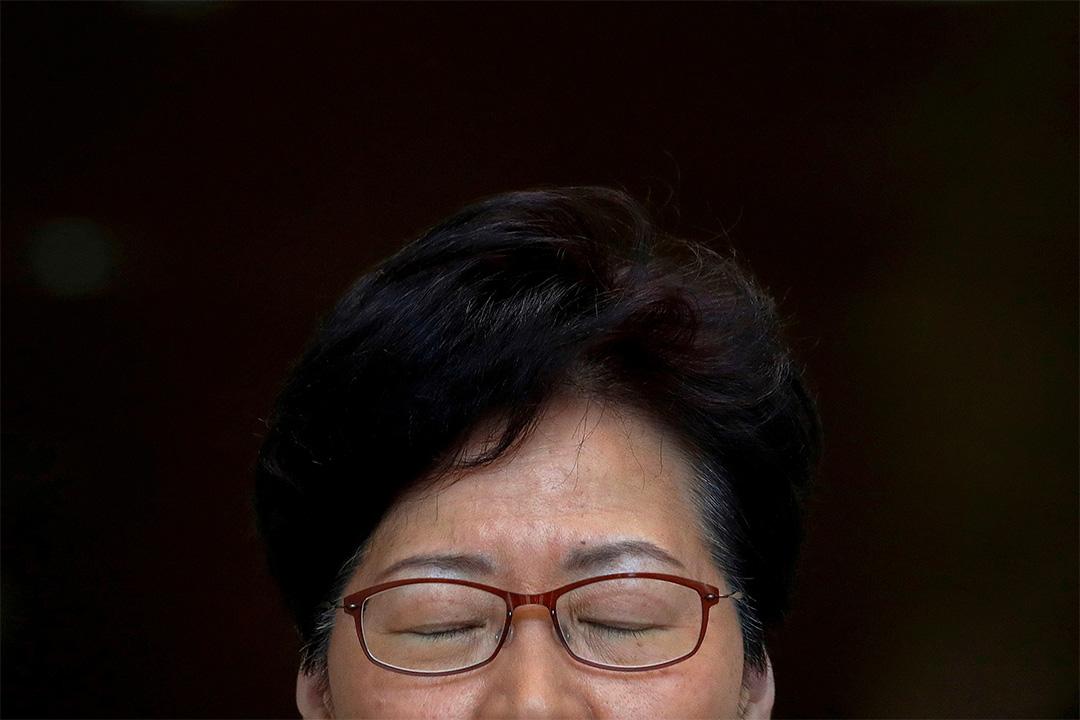 2019年8月27日香港,香港行政長官林鄭月娥在特首辦舉行的記者會上。