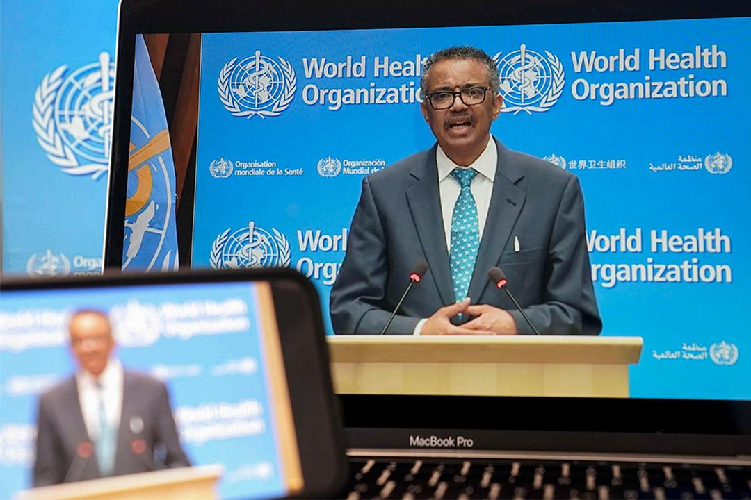 2020年5月18日,世界衛生組織總幹事譚德塞在第73屆世界衛生大會開幕式期間通過視像會議講話。 攝:Peng Dawei/China News Service via Getty Images