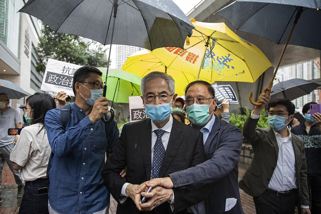 2020年5月18日香港,黎智英、李柱銘等15人涉非法集結於西九龍法院提堂審訊。