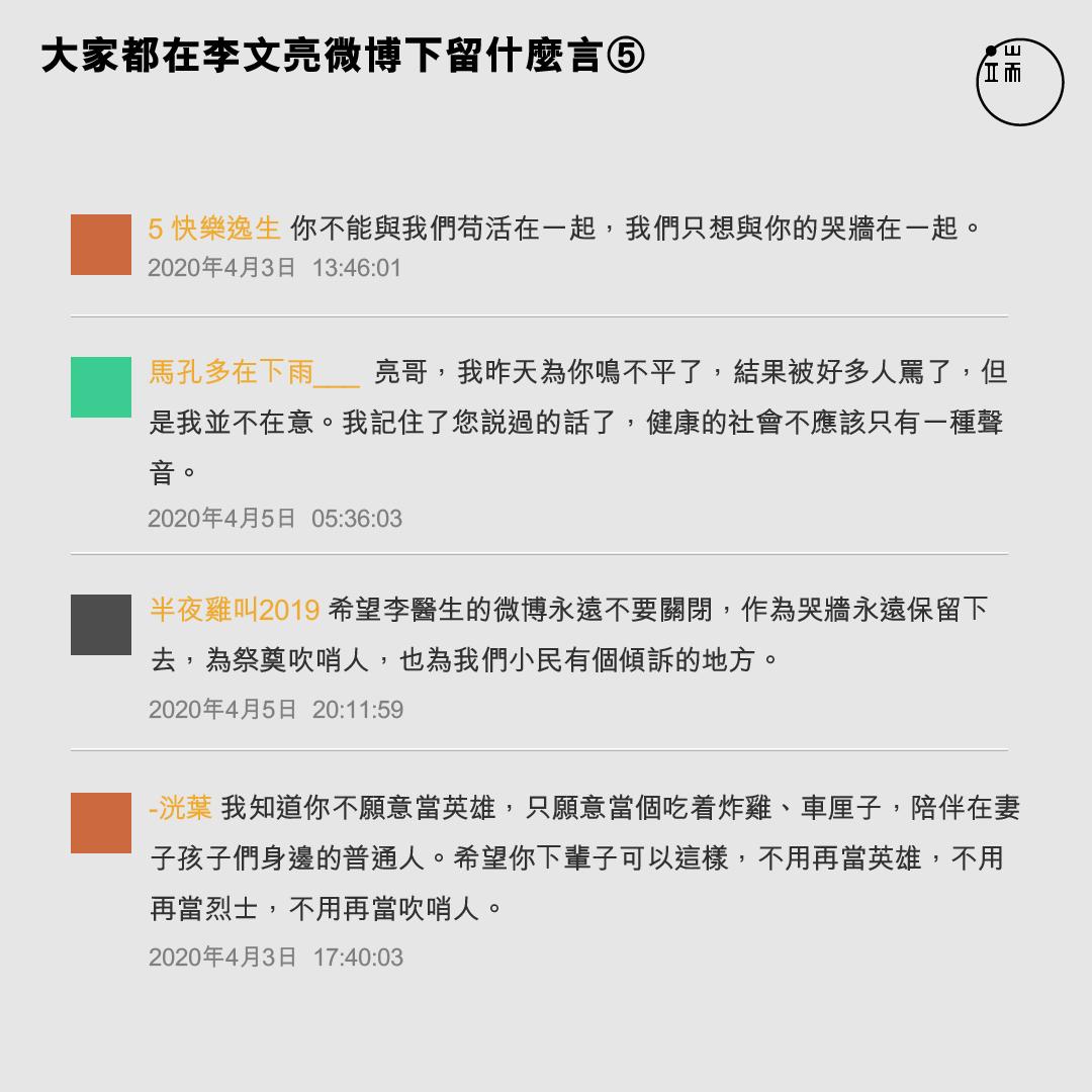 4月,大家都在李文亮微博下留什麼言