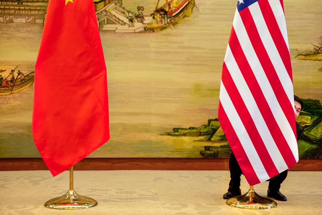 2016年1月27日,美國國務卿克里和中國外交部部長王毅在北京會面的會場。
