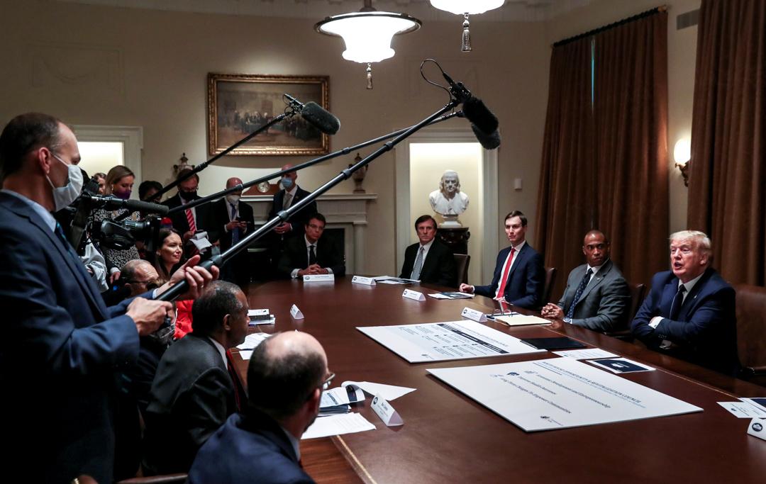 2020年5月18日,美國總統特朗普在白宮會見傳媒。