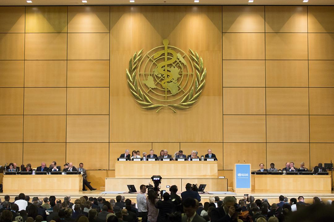 因應疫情,本屆世衛大會將史上首次通過視像方式召開。圖為2018年5月21日,世衛大會在瑞士日內瓦揭幕。 攝:Peter Klaunzer / Associated Press