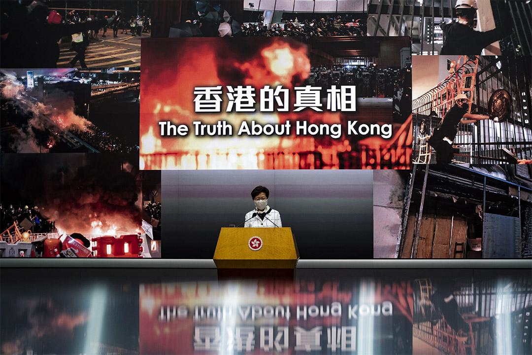 2020年5月15日香港,林鄭月娥在政總舉行記者會。 攝:陳焯煇/端傳媒