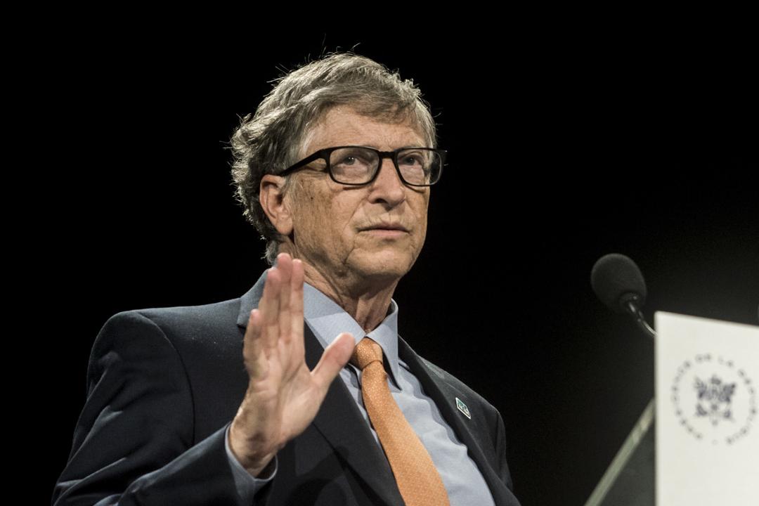 2019年10月10日, 比爾·蓋茨於法國里昂舉行的第六屆世界基金會議的籌款日上致辭。 攝:Nicolas Liponne/NurPhoto via Getty Images