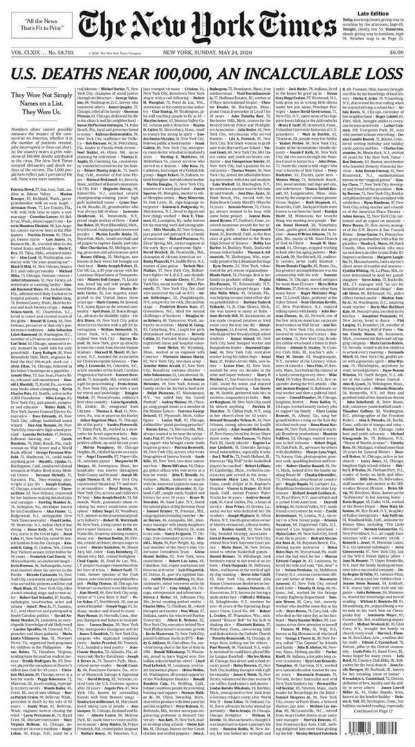 2020年5月24日,紐約時報用頭版刊登了因新型冠狀病毒死亡的一千個死者的姓名和簡介。
