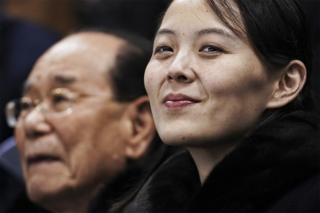 2018年2月10日平昌冬季奧運會,瑞士和北韓進行女子冰球比賽期間北韓領導人金正恩的妹妹金與正在席上觀看。