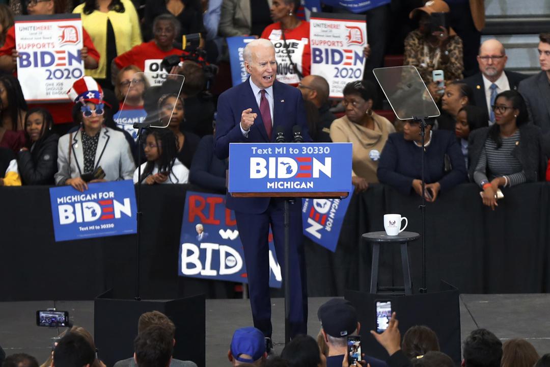 2020年3月9日,美國總統選舉民主黨參選人拜登(Joe Biden)在底特律出席競選活動。 攝:Paul Sancya / AP