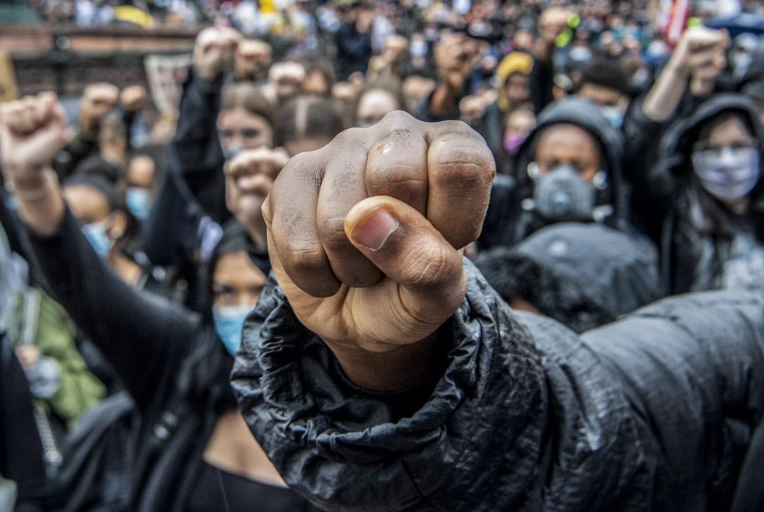 2020年6月5日,德國法蘭克福的民眾上街響應美國的示威者。