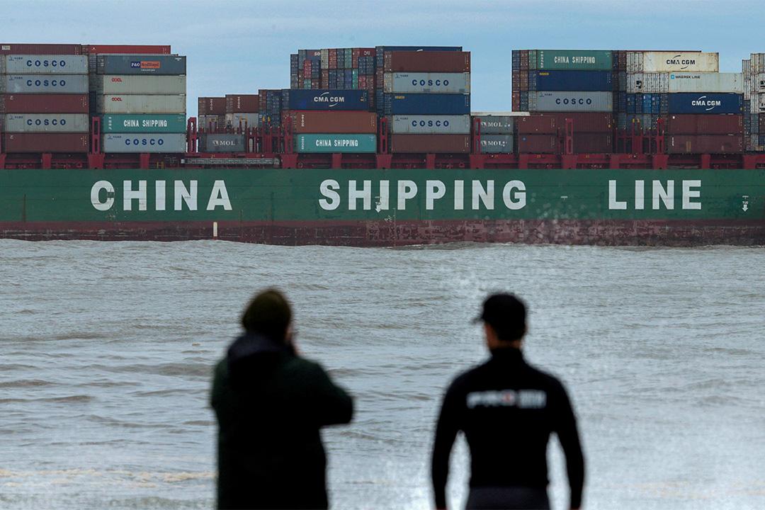 2016年6月6日悉尼,一艘中國航運公司的貨櫃箱船從悉尼的港口駛出。