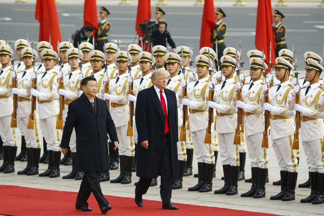 2017年11月9日,北京,美國總統唐特朗普參加國家主席習近平的歡迎儀式。  攝:Thomas Peter-Pool/Getty Images