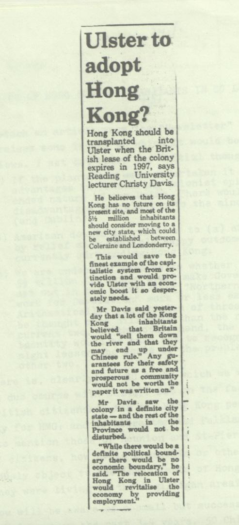1983年,雷丁大學講師Christie Davies的建議,被北愛爾蘭著名報章The News Letter報導,引起英國外交部注意。