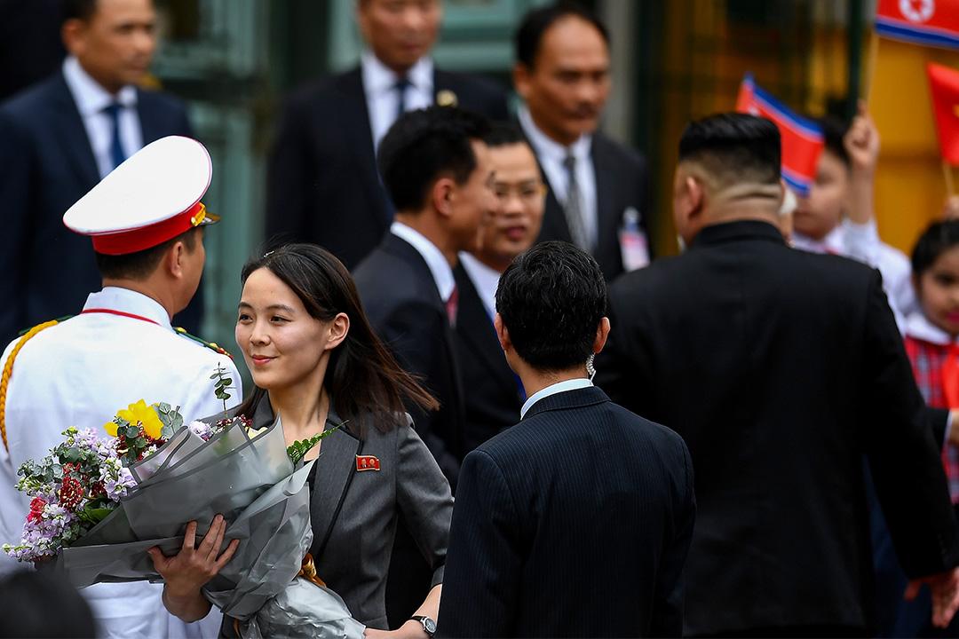 2019年3月1日河內,北韓領導人金正恩的妹妹金與正抵達河內總統府舉行歡迎儀式。 攝:Manan Vatsyayana/AFP via Getty Images