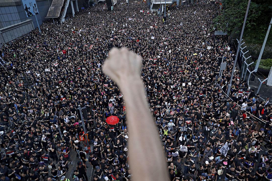 2019年6月16日香港灣仔,示威者在香港反修例運動遊行期間。 攝:Vincent Yu/AP/達志影像