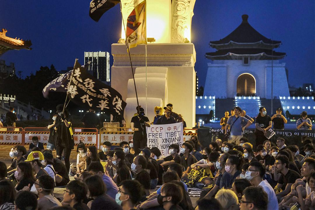 2020年6月13日台北自由廣場,一群台灣人和台灣僑民在聲援香港示威者。 攝:Alberto Buzzola/LightRocket via Getty Images