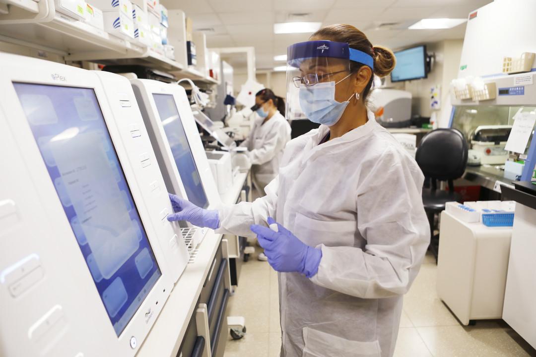 2020年6月25日,美國佛羅里達州,醫療人員在實驗室處理病毒檢測樣本。 攝:Photo by Octavio Jones/Getty Images