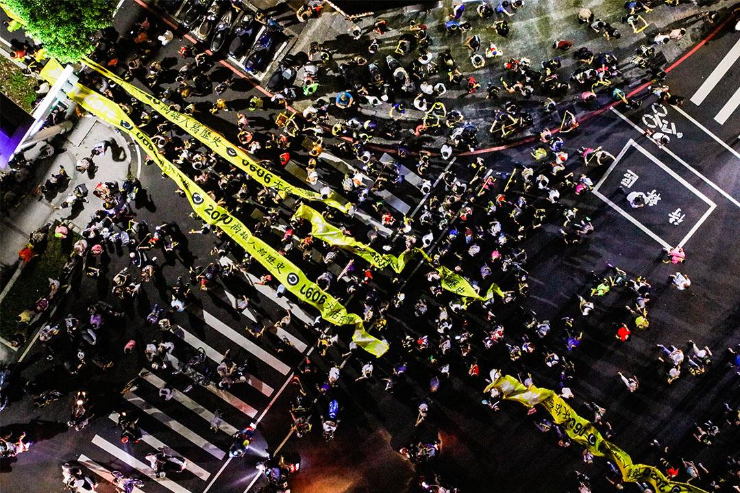 2020年6月5日高雄,市民上街參加罷韓遊行集會。
