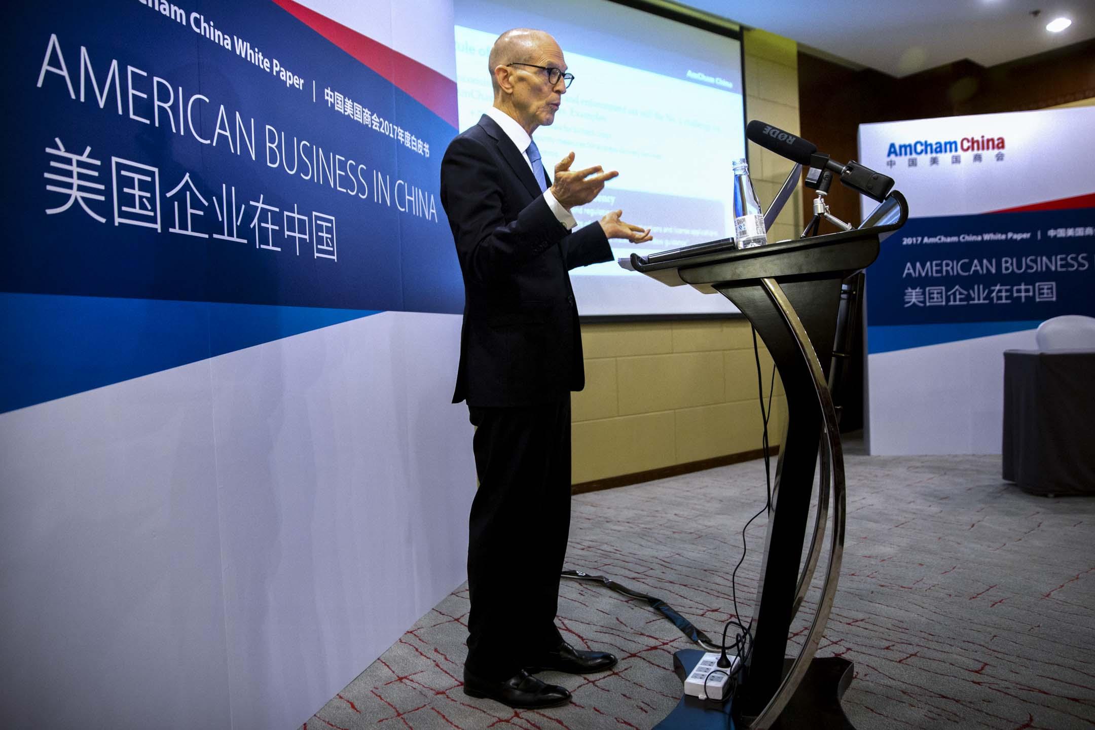 2017年4月18日,美國商會主席William Zarit在北京舉行的記者會。