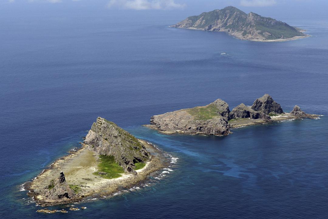 2016年6月9日拍攝的釣魚台列島部份島嶼的面貌。 圖片來源:共同社 / Reuters