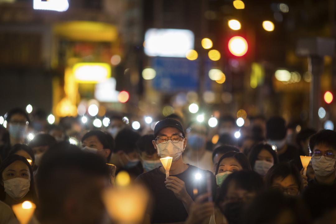 2020年6月4日,旺角有人自發舉行六四悼念活動。