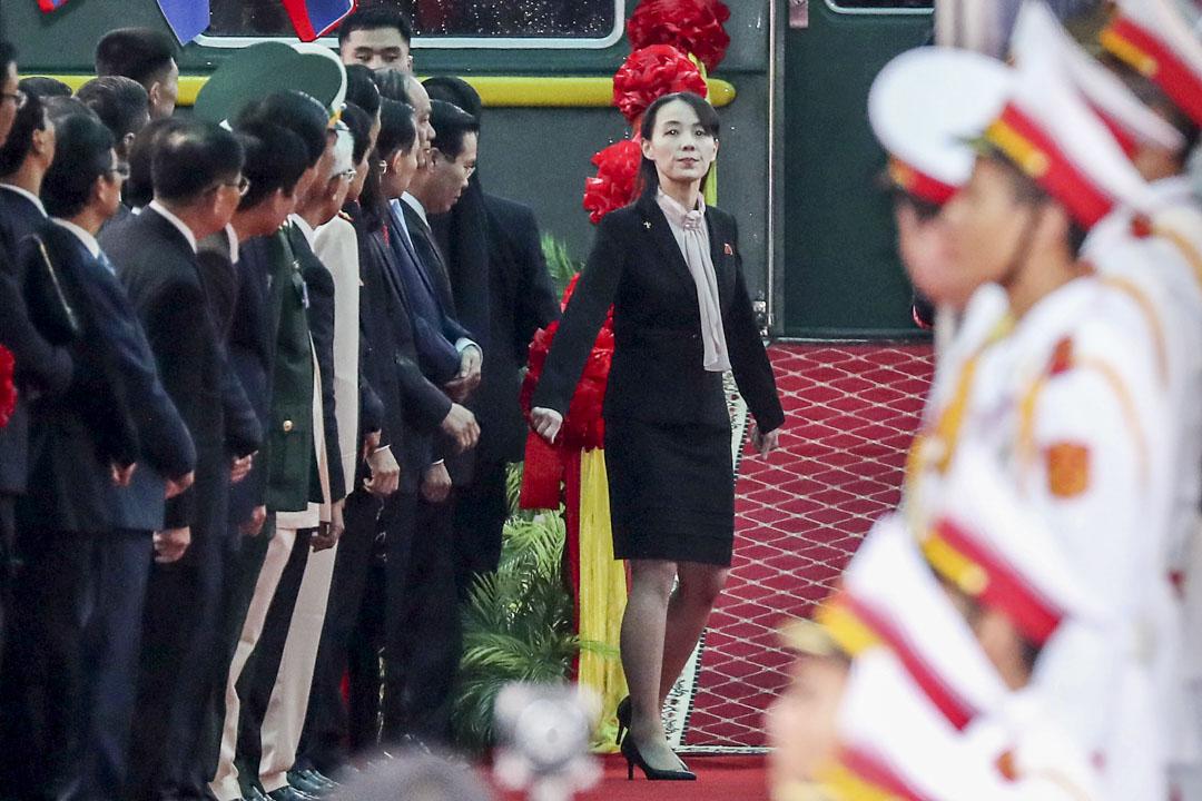 2019年2月26日,北韓領導人金正恩的妹妹金與正在火車站。
