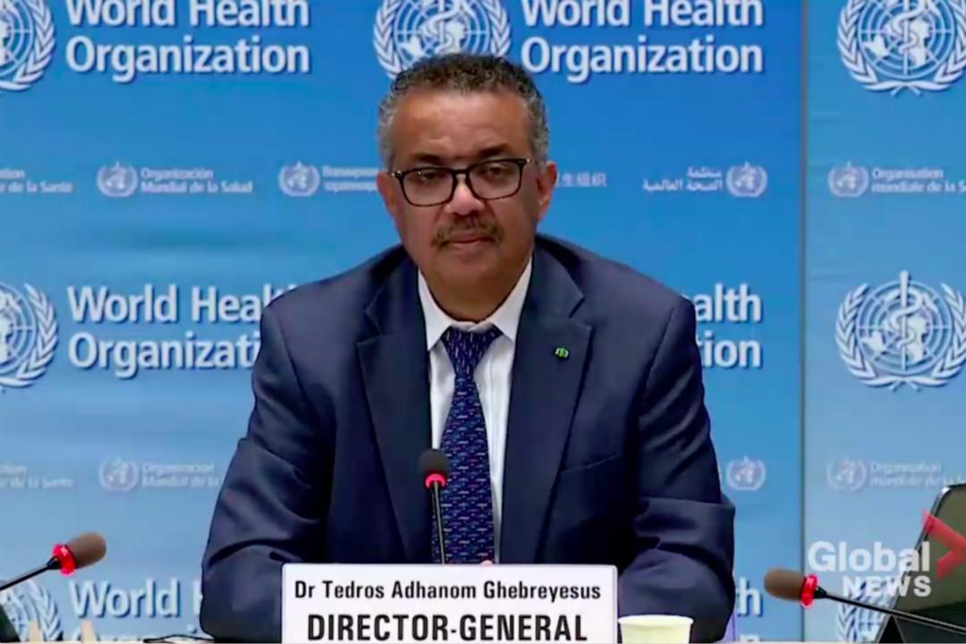 2020年7月27日,日內瓦,世界衛生組織(WHO)總幹事譚德塞出席記者會。 圖片來自網絡錄像