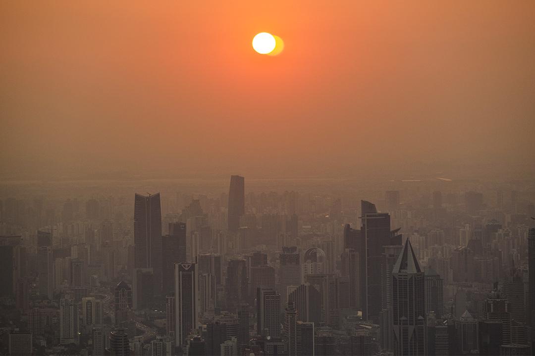 上海市的黃昏。
